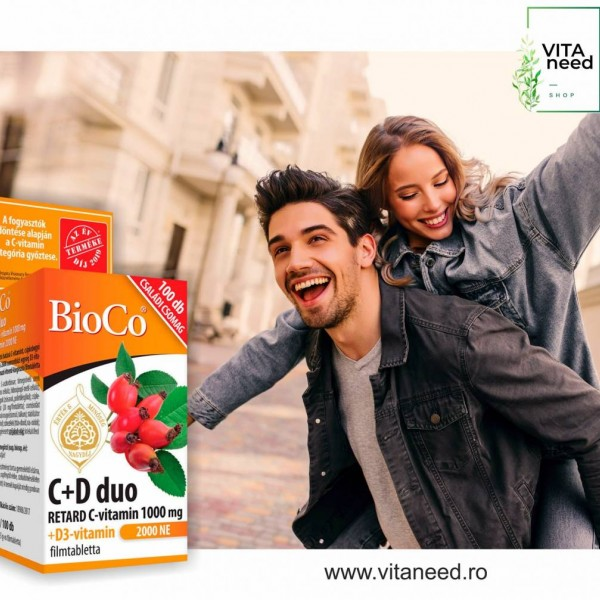 Vitamina C + D DUO, 1000 mg cu 2000 UI x 100 buc, Vegetarian, BioCo
