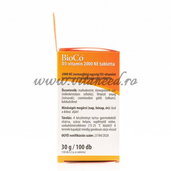 Vitamina D3 2000 UI x 100 buc, Vegetarian, Bioco