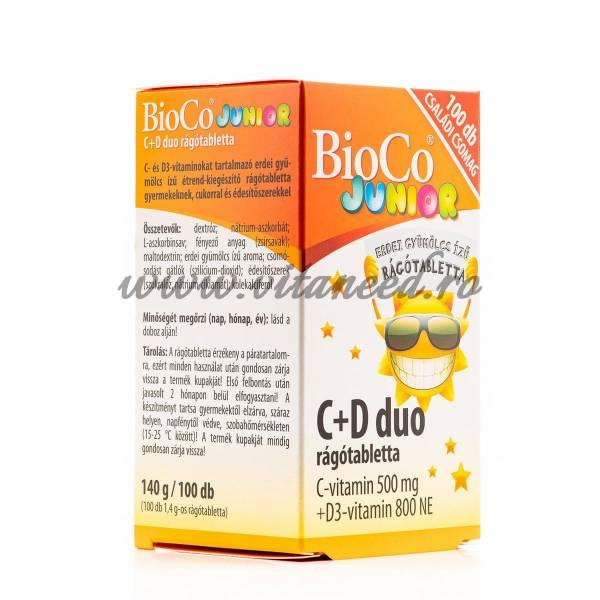 Vitamina C + D Duo Junior, 500 mg cu 800 UI x 100 buc, Comprimate Mastacabile, Bioco