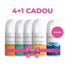 Pachet Deodorante Naturale Terralura 4+1 Cadou (Portocală, Mentă, Lavandă, Lămâie, Homme Deo)