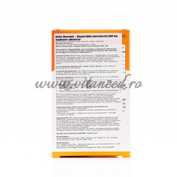 Diosmină Micronizată + Hesperidină, 450 mg cu 50 mg x 60 buc, Bioco