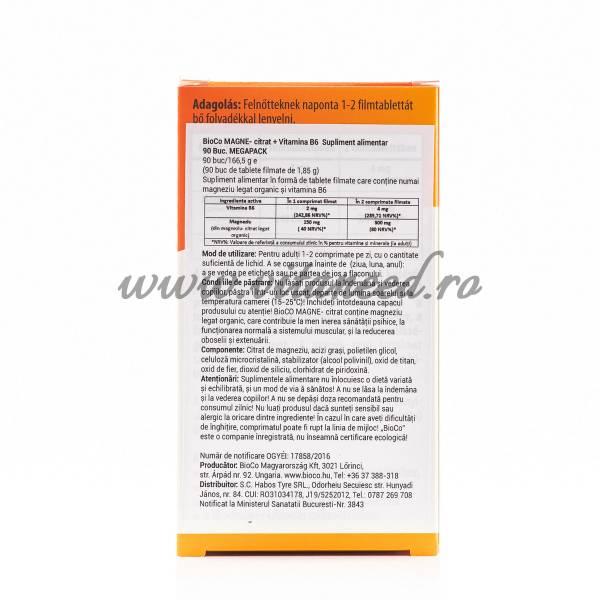 Magneziu Organic + Vitamina B6, 150 mg cu 2 mg x 90 buc, BioCo Magne-Citrat